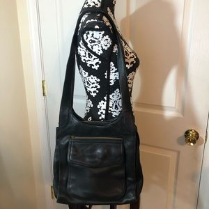 Large fossil leather shoulder bag purse black